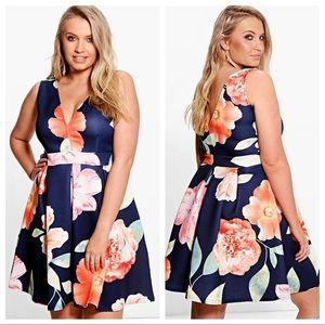 Boohoo Plus Katie Plunge Neck Floral Skater Dress
